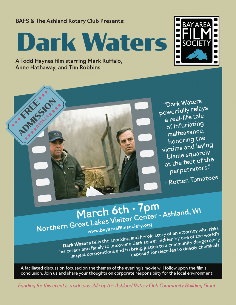 """poster promoting the screening of the movie """"Dark Waters"""""""