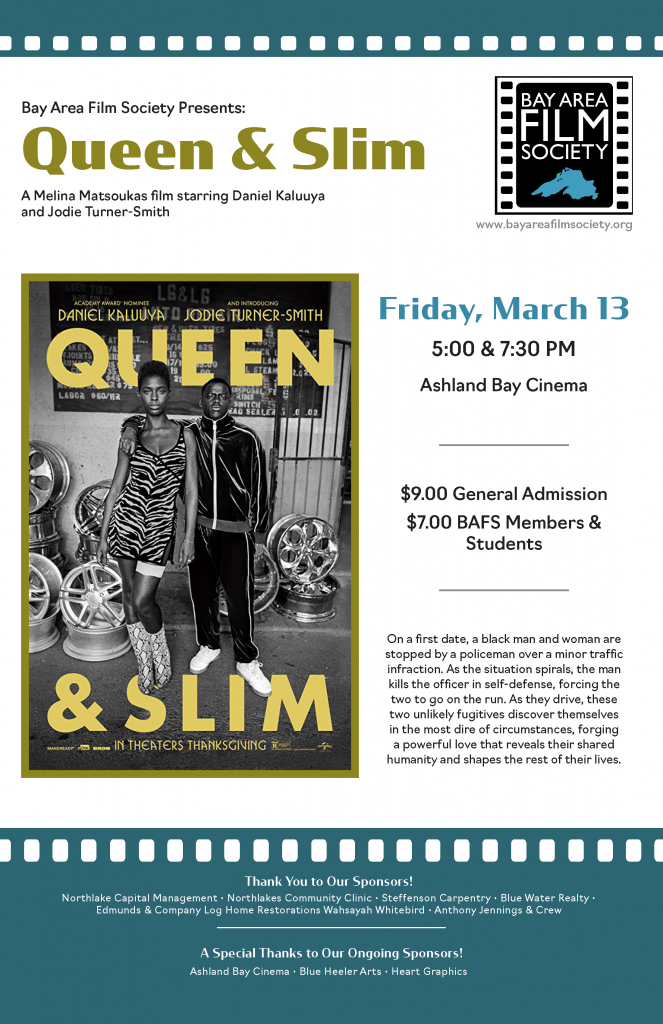 poster promoting the screening of the movie Queen & Slim