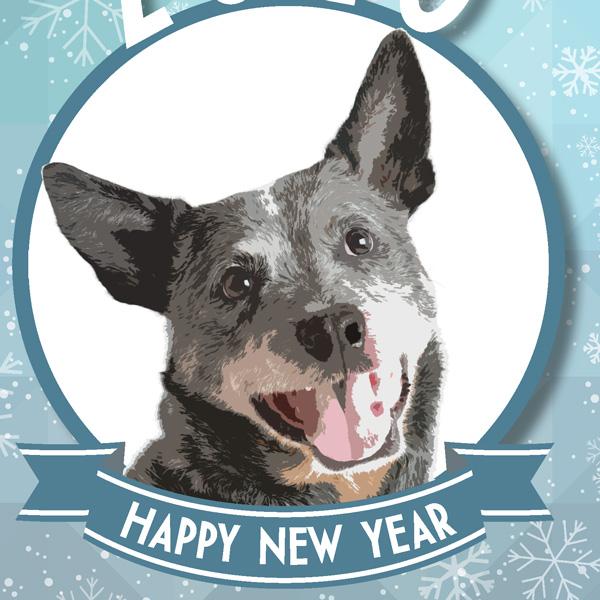 Blue Heeler Arts New Year's Card